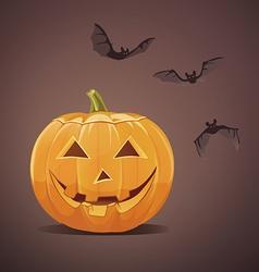 Jack-o-lantern with bats vector image
