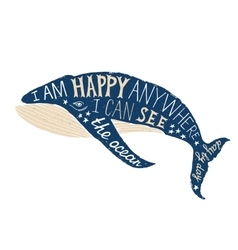 Typographical poster with whale vector image