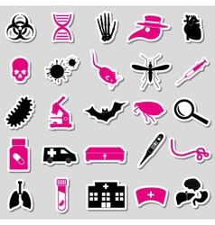 Plague and disease theme simple stickers vector