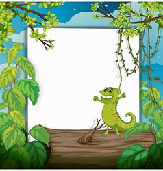 A dacing chameleon and a white board vector image