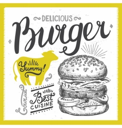 Burger food element for restaurant and cafe vector