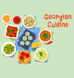Georgian cuisine dishes icon for dinner design vector