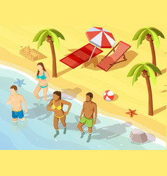 Friends ocean beach vacation isometric poster vector