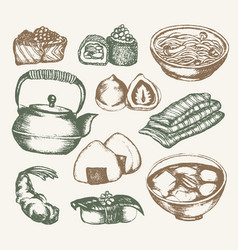 Japanese food - color hand drawn vector