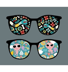 Retro sunglasses with snake and boy reflection vector