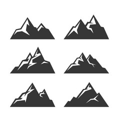 Mountain icons set on white background vector