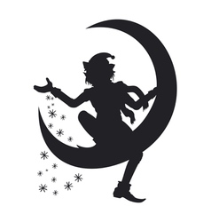 Silhouette of christmas elf scattering snowflakes vector