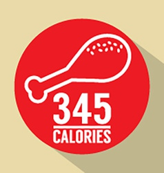 Single fried chicken 345 calories symbol vector