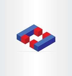 3d magnets letter c icon vector
