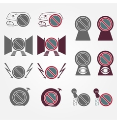 No parking sign icons set vector
