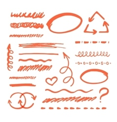 Red marker strokes set vector