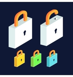 Lock icon set open and close padlocks isometric vector