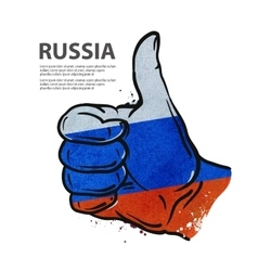 Hand gesture thumb up flag of the russia vector