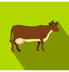 Brown cow flat icon vector