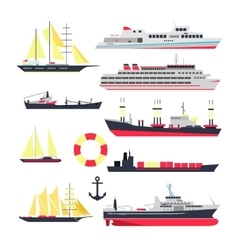 Set of sea ships boats and yacht isolated vector