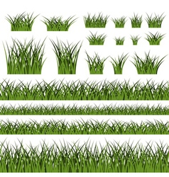 Green grass seamless pattern and bushes vector