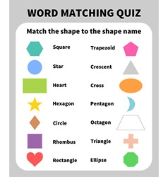Basic shapes matching quiz learning 2d shapes for vector
