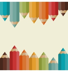 Background with colored pencils in retro style vector