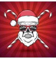 Bad santa claus biker with candy cones print vector