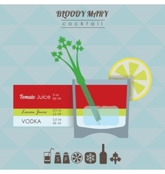 Bloody mary cocktail flat style with vector