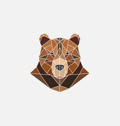 brown bear portrait abstract polygonal design vector image vector image