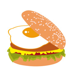 Burger with fried egg vector