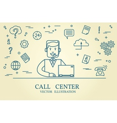 Call center thin line design vector image