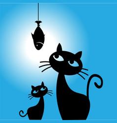 Cat dreams of fish cat wants to eat vector