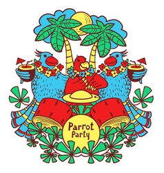 Cocktail parrot party in the tropics vector