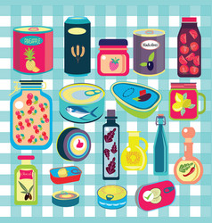 Collection of various tins canned goods food vector
