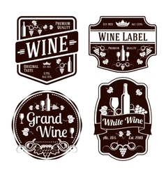 Dark monochrome wine labels of different shapes vector image vector image