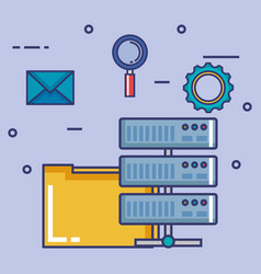 data center set flat icons vector image