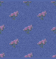 Denim seamless background with printed flowers vector