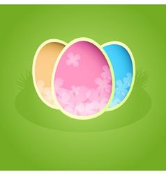 Easter paper card with color eggs vector