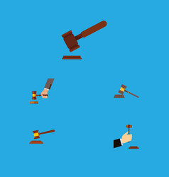 Flat icon hammer set of crime law court and vector