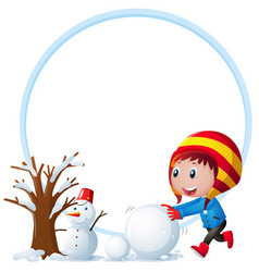 frame template with boy playing snow vector image