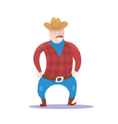 hand drawn cowboy character isolated vector image vector image