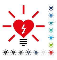 Heart electric bulb icon vector