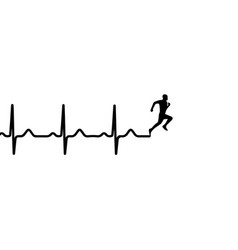 heartbeat electrocardiogram and running man vector image vector image