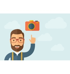Man pointing the camera icon vector
