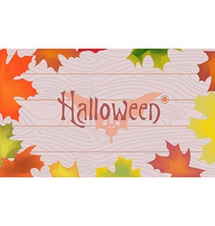 Maple color fall leaves pumpkin bat halloween vector