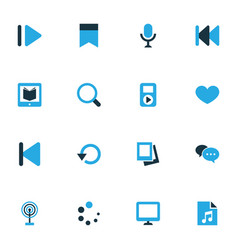 Media colorful icons set collection of waiting e vector