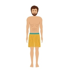 Men with yellow swimming short vector