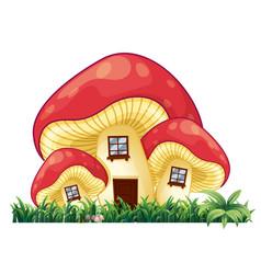 Mushroom house on the grass vector