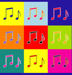 Music notes sign pop-art style colorful vector