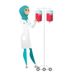 Muslim doctor preparing drop counter vector