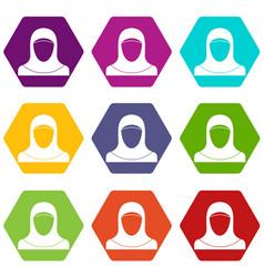Muslim women wearing hijab icon set color vector