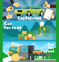 Online automobile rental business banner set vector