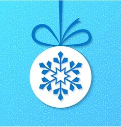 Paper christmas ball with snowflake vector