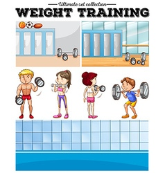 People doing weight training and locker room vector image